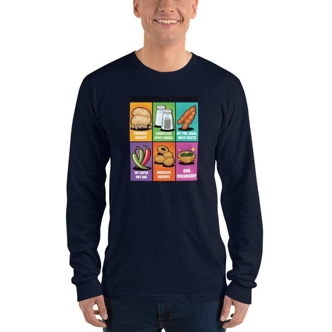 Navy / S Long Bengali Unisex Fine Jersey Long Sleeve T-Shirt - Phuchka and Friendst-shirt