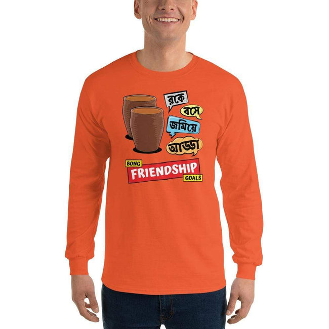 Orange / S Bengali Ultra Cotton Long Sleeve T-Shirt -Bong Friendship Goals