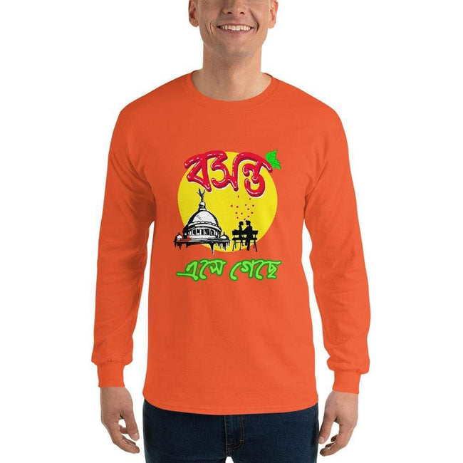Orange / S Bengali Ultra Cotton Long Sleeve T-Shirt - Bosonto Ese Gache