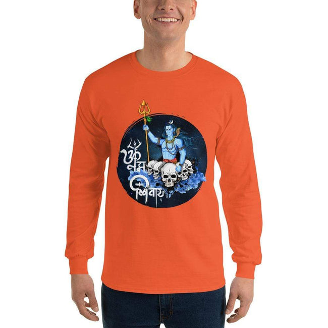 Orange / S Bengali Ultra Cotton Long Sleeve T-Shirt - Om Namah Shivay-01