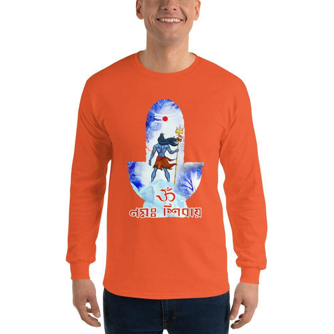 Orange / S Bengali Ultra Cotton Long Sleeve T-Shirt - Om Namah Shivay-02