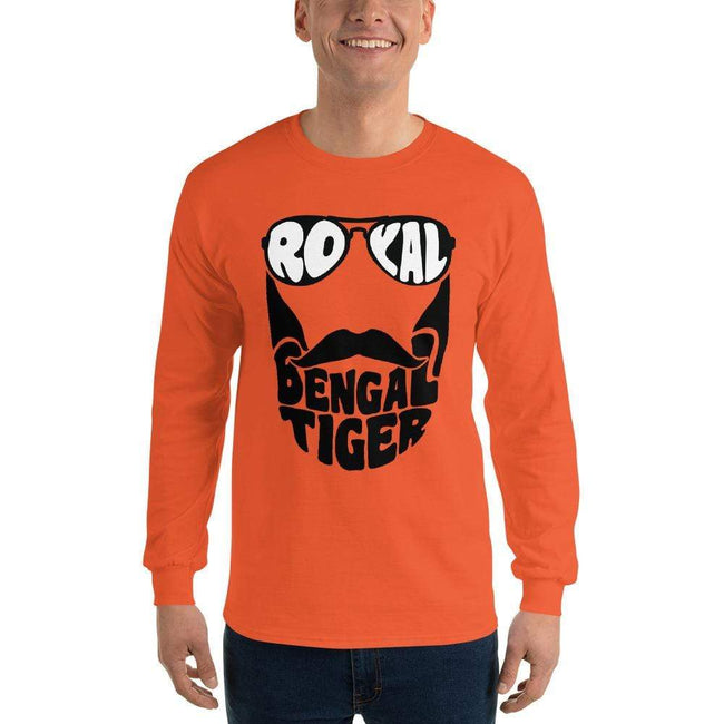 Orange / S Bengali Ultra Cotton Long Sleeve T-Shirt - Royal Bengal Tiger