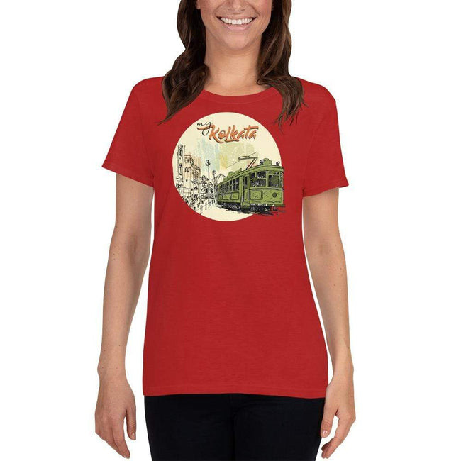 Red / S Bengali Heavy Cotton Short Sleeve T-Shirt - My Kolkata Tram