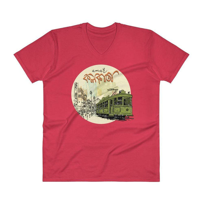 Red / S Bengali Lightweight Fashion V-Neck T-Shirt - Amar Kolkata Tram