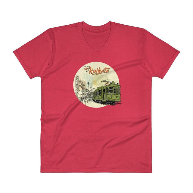 Red / S Bengali Lightweight Fashion V-Neck T-Shirt - My Kolkata Tram