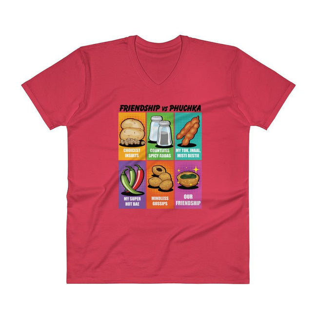 Red / S Bengali Lightweight Fashion V-Neck T-Shirt - Phuchka and Friends