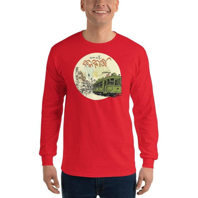 Red / S Bengali Ultra Cotton Long Sleeve T-Shirt - Amar Kolkata Tram
