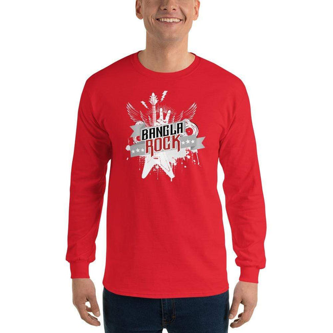 Red / S Bengali Ultra Cotton Long Sleeve T-Shirt -Bangla Rock