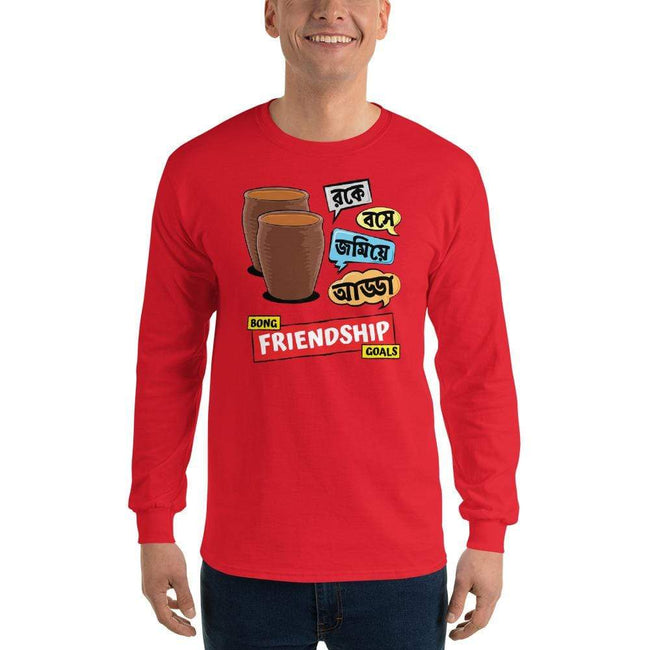 Red / S Bengali Ultra Cotton Long Sleeve T-Shirt -Bong Friendship Goals