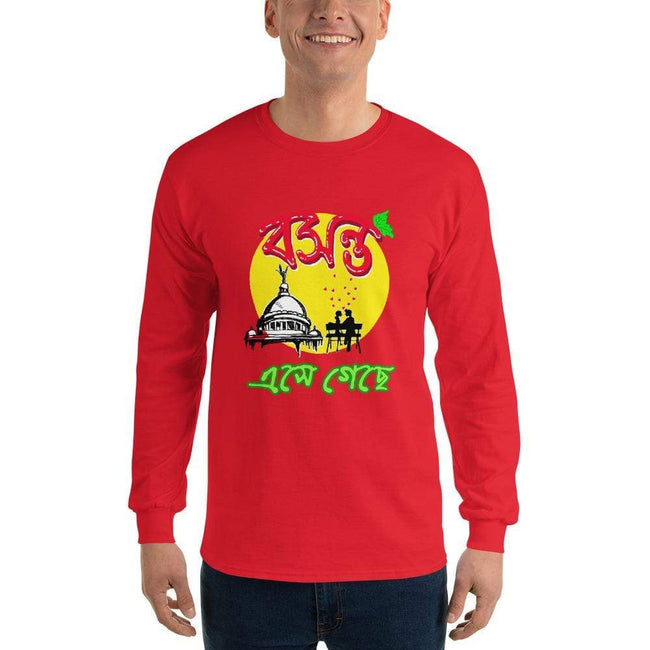Red / S Bengali Ultra Cotton Long Sleeve T-Shirt - Bosonto Ese Gache