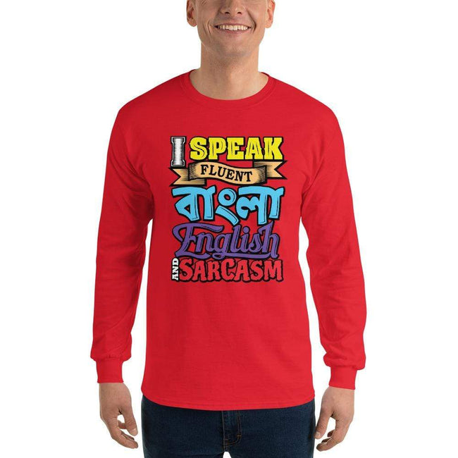 Red / S Bengali Ultra Cotton Long Sleeve T-Shirt - Funky Sarcasm