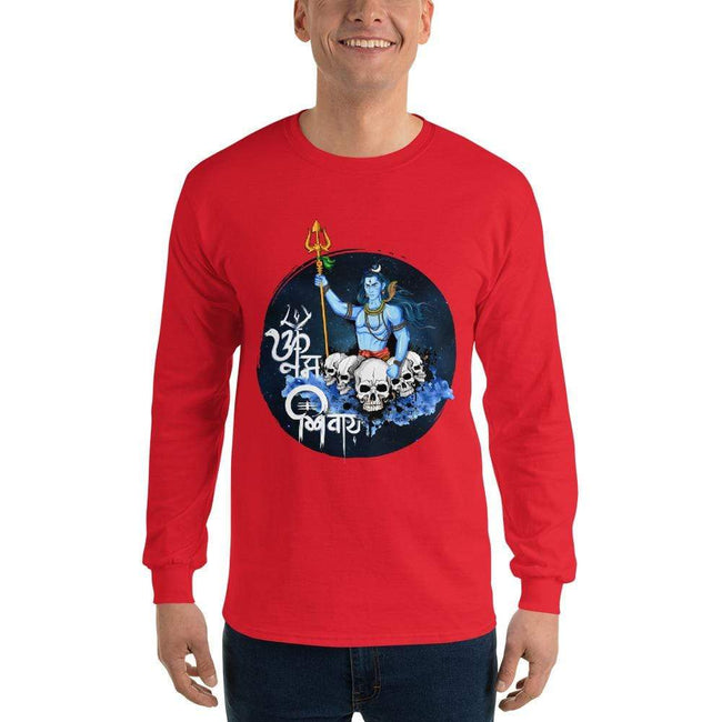 Red / S Bengali Ultra Cotton Long Sleeve T-Shirt - Om Namah Shivay-01