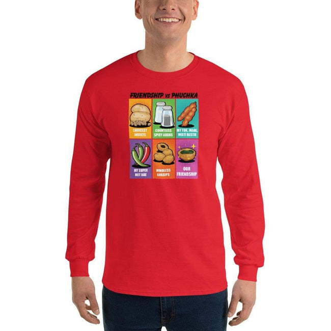 Red / S Bengali Ultra Cotton Long Sleeve T-Shirt -Phuchka and Friends
