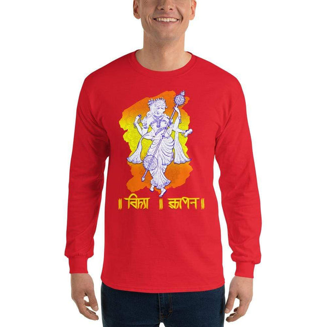 Red / S Bengali Ultra Cotton Long Sleeve T-Shirt - Vidya Roopeno