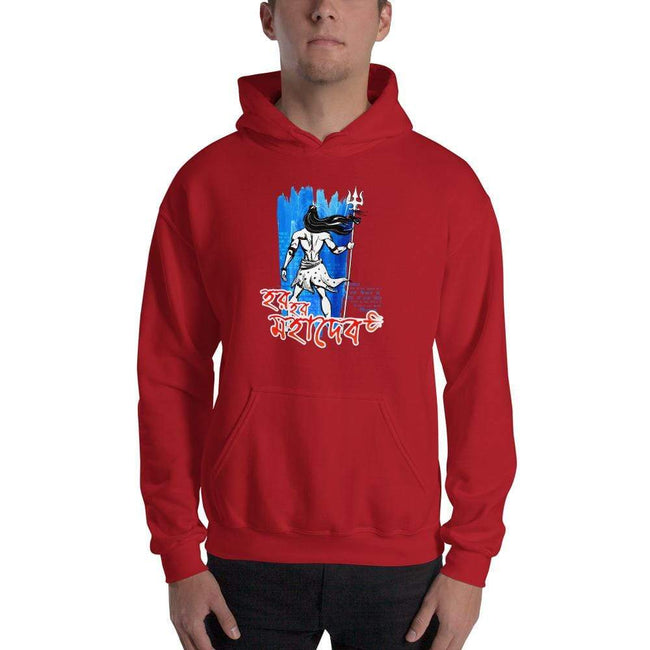 Red / S Bengali Unisex Heavy Blend Hooded Sweatshirt - Har Har Mahadev