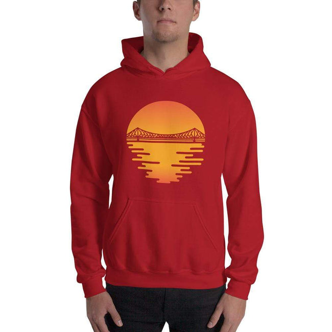 Red / S Bengali Unisex Heavy Blend Hooded Sweatshirt - Howrah by the Dawn