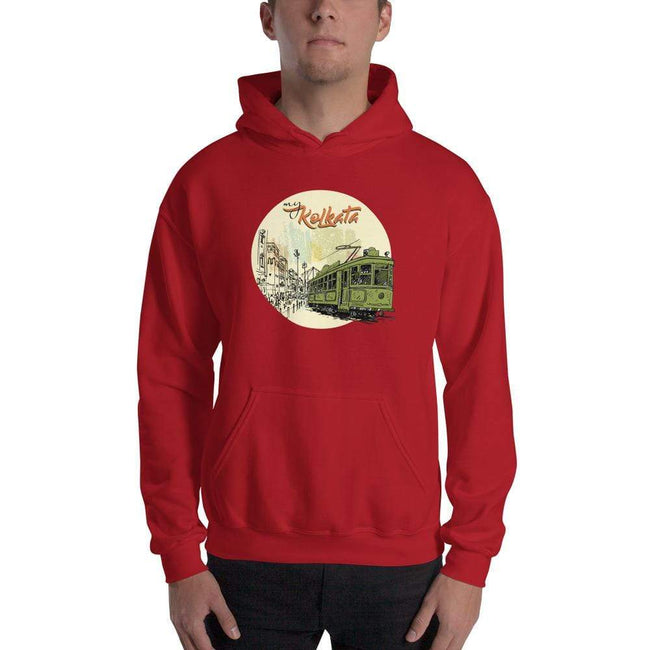 Red / S Bengali Unisex Heavy Blend Hooded Sweatshirt - Khol Dwar Khol- My Kolkata Tram