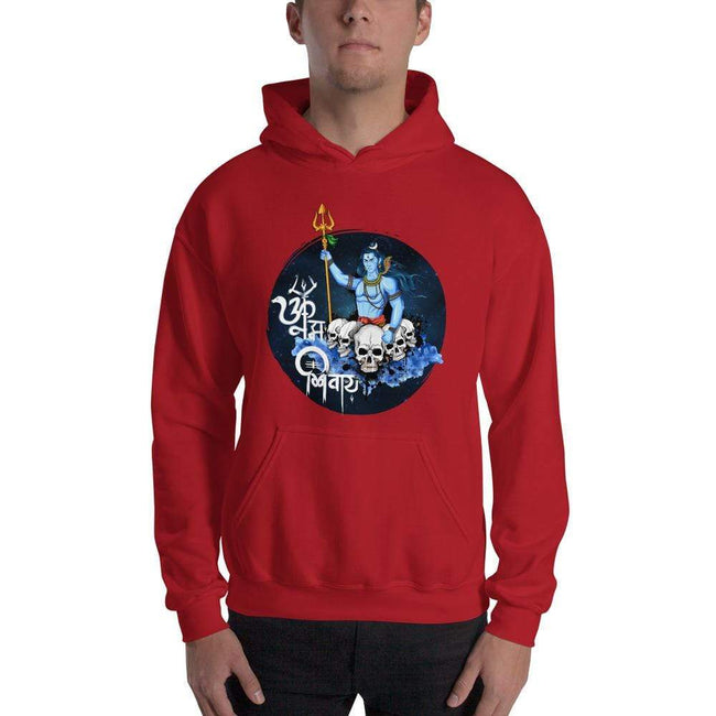 Red / S Bengali Unisex Heavy Blend Hooded Sweatshirt - Om Namah Shivay-01