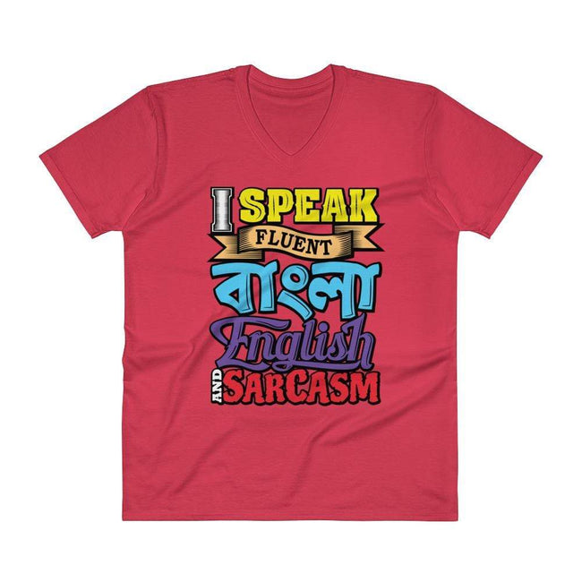 Red / S Bengali Unisex Short Sleeve V-Neck Jersey Tee - Funky Sarcasm
