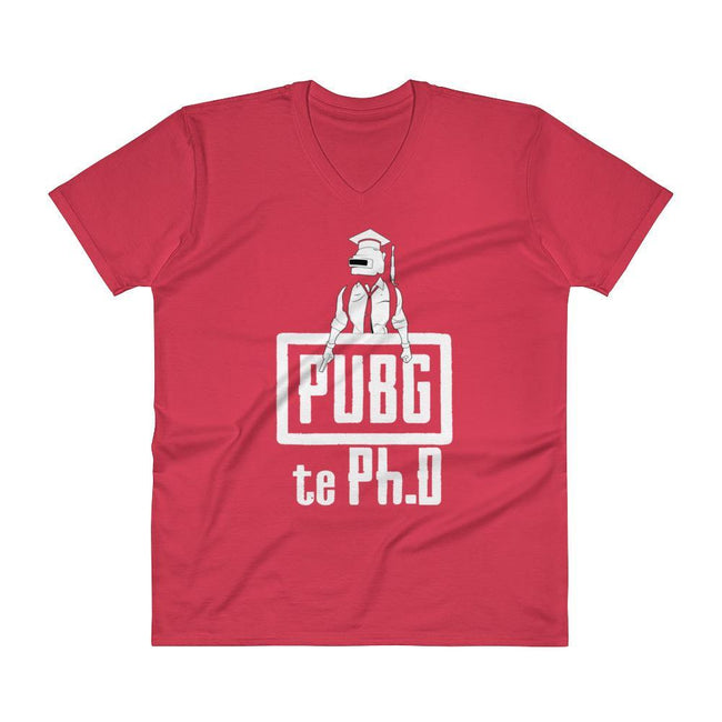 Red / S Bengali Unisex Short Sleeve V-Neck Jersey Tee - PUBG Te PHD