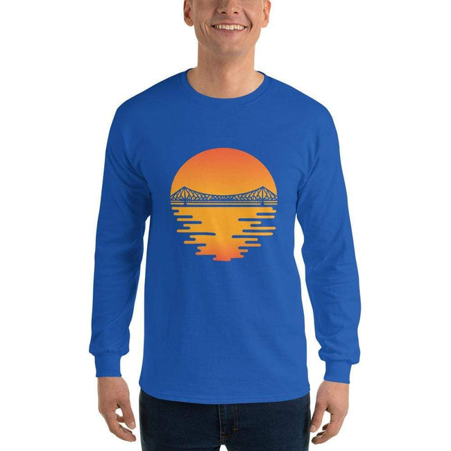 Royal / S Bengali Ultra Cotton Long Sleeve T-Shirt - Howrah by the Dawn