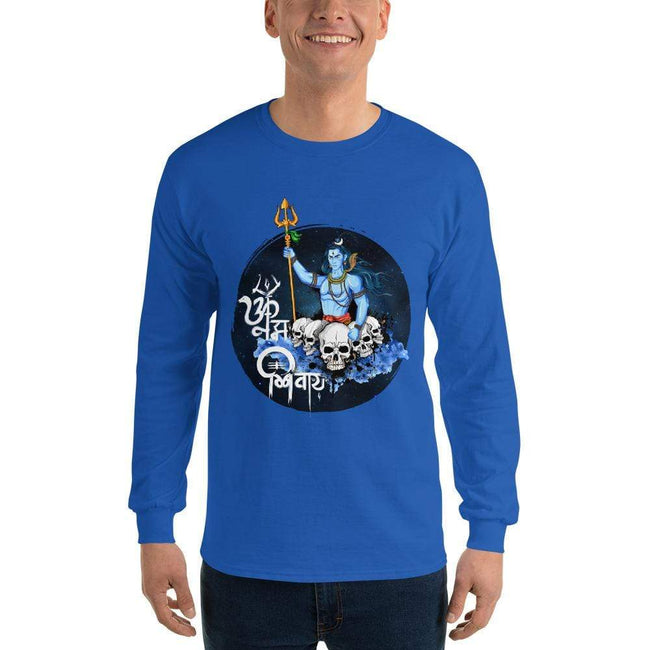 Royal / S Bengali Ultra Cotton Long Sleeve T-Shirt - Om Namah Shivay-01
