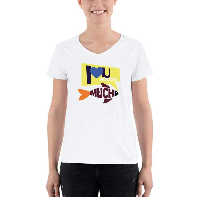 S Bengali Lightweight V-Neck T-Shirt - I love you so much