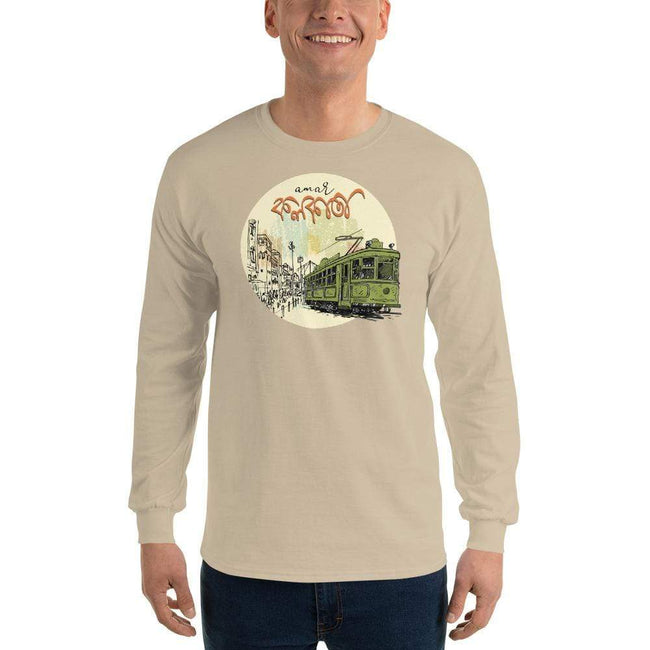 Sand / S Bengali Ultra Cotton Long Sleeve T-Shirt - Amar Kolkata Tram