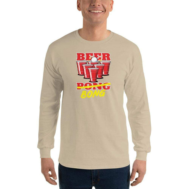 Sand / S Bengali Ultra Cotton Long Sleeve T-Shirt -Beer Bong