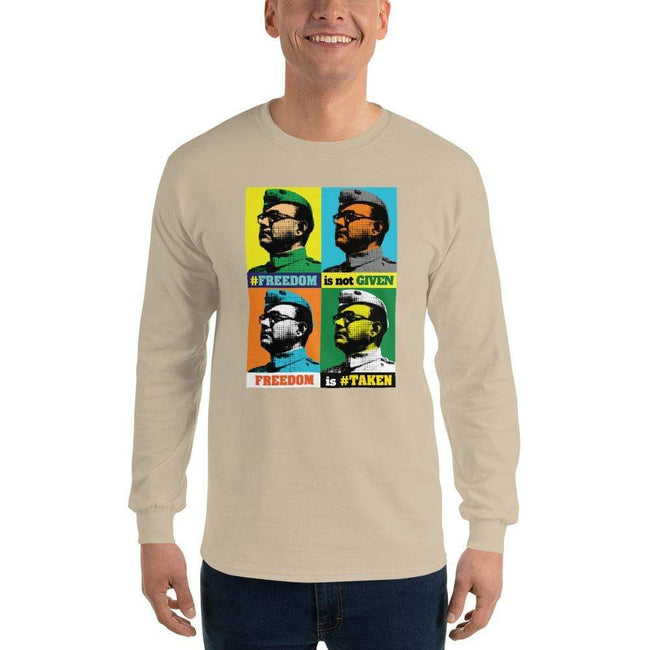 Sand / S Bengali Ultra Cotton Long Sleeve T-Shirt -Netaji
