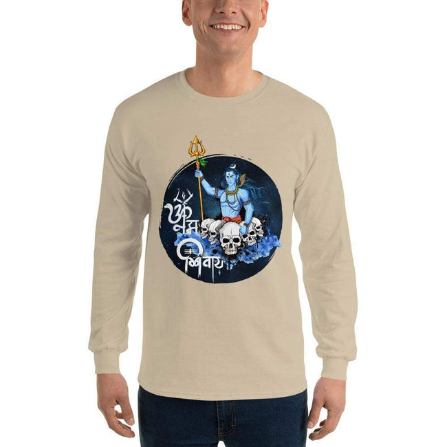 Sand / S Bengali Ultra Cotton Long Sleeve T-Shirt - Om Namah Shivay-01