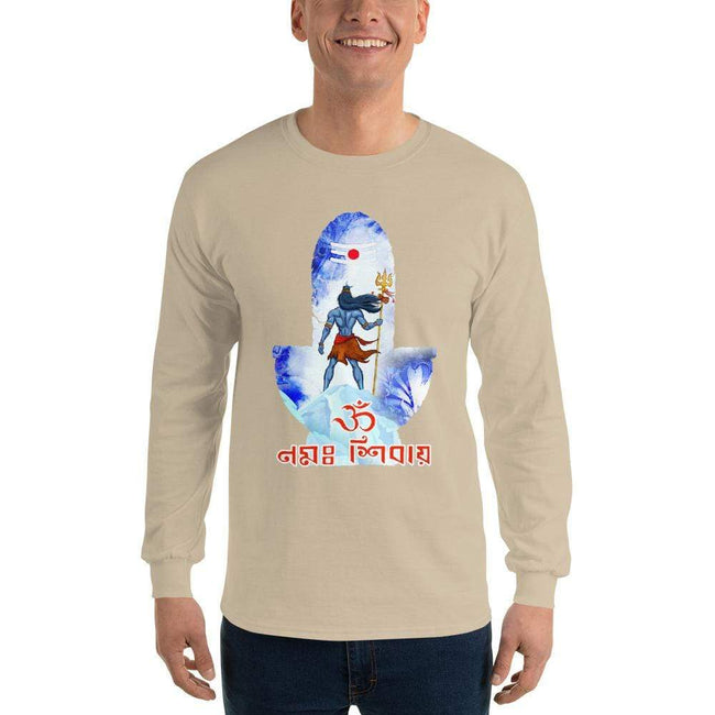 Sand / S Bengali Ultra Cotton Long Sleeve T-Shirt - Om Namah Shivay-02