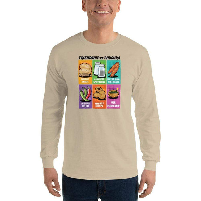 Sand / S Bengali Ultra Cotton Long Sleeve T-Shirt -Phuchka and Friends