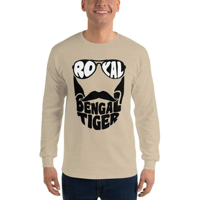 Sand / S Bengali Ultra Cotton Long Sleeve T-Shirt - Royal Bengal Tiger