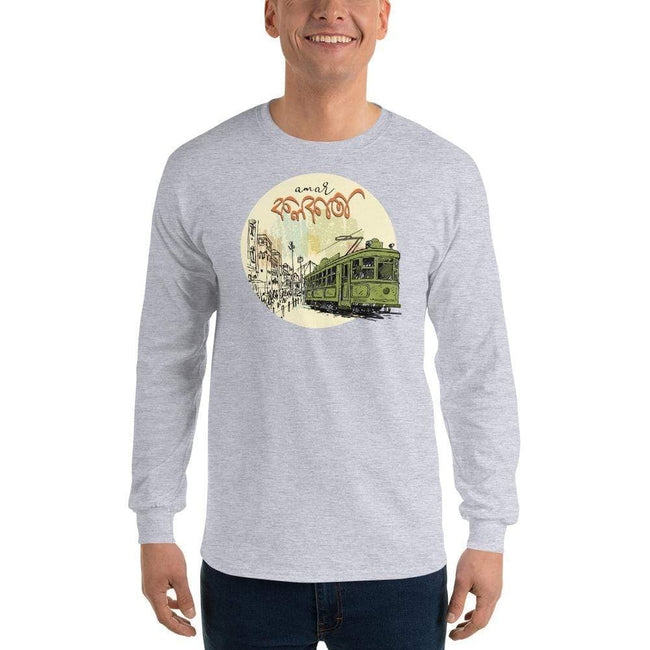 Sport Grey / S Bengali Ultra Cotton Long Sleeve T-Shirt - Amar Kolkata Tram
