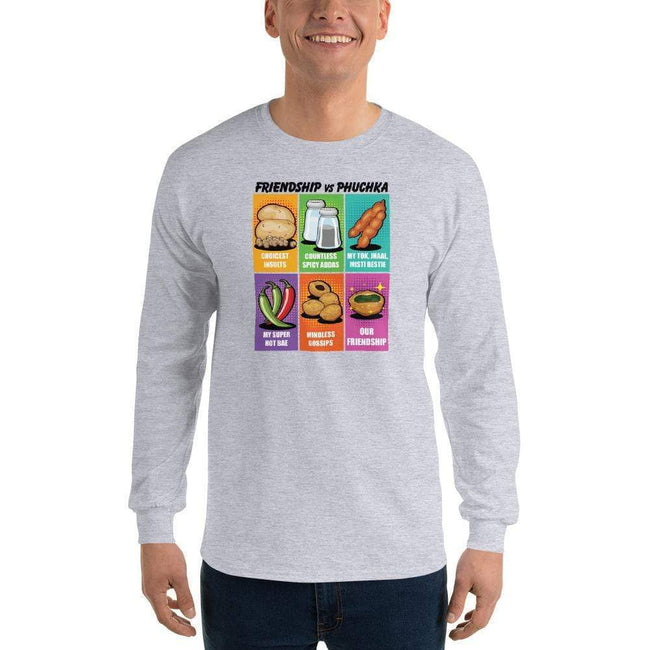 Sport Grey / S Bengali Ultra Cotton Long Sleeve T-Shirt -Phuchka and Friends