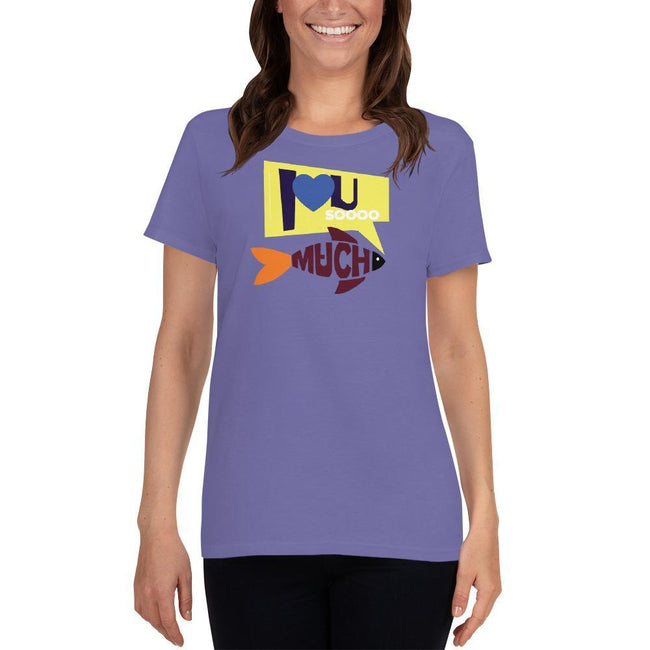 Violet / S Bengali Heavy Cotton Short Sleeve T-Shirt -I love you so much