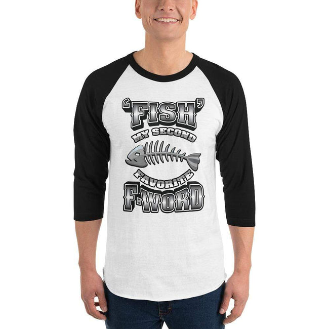 White/Black / XS Bengali Unisex Fine Jersey Raglan Tee - F for Fish