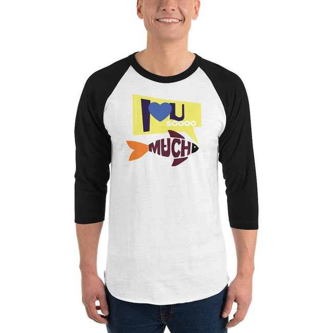 White/Black / XS Bengali Unisex Fine Jersey Raglan Tee   - I love you so much