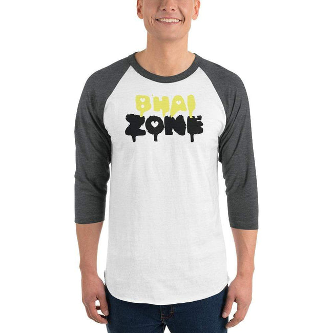 White/Heather Charcoal / XS Bengali Unisex Fine Jersey Raglan Tee - Bhai Zone