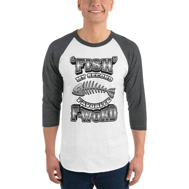 White/Heather Charcoal / XS Bengali Unisex Fine Jersey Raglan Tee - F for Fish