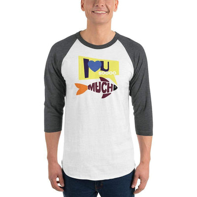 White/Heather Charcoal / XS Bengali Unisex Fine Jersey Raglan Tee   - I love you so much