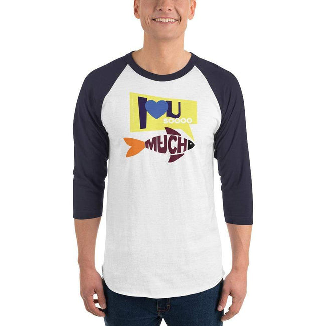 White/Navy / XS Bengali Unisex Fine Jersey Raglan Tee   - I love you so much