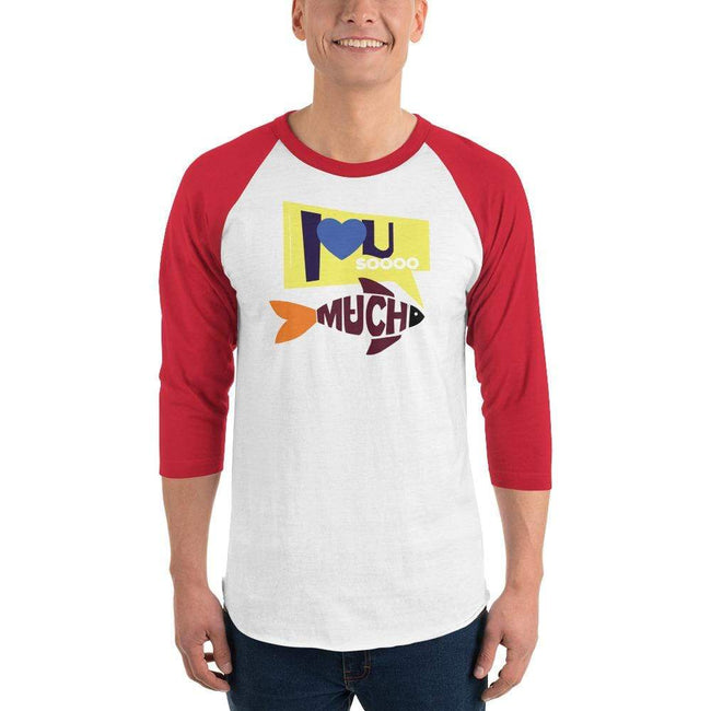 White/Red / XS Bengali Unisex Fine Jersey Raglan Tee   - I love you so much