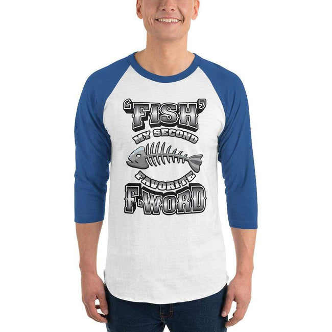 White/Royal / XS Bengali Unisex Fine Jersey Raglan Tee - F for Fish