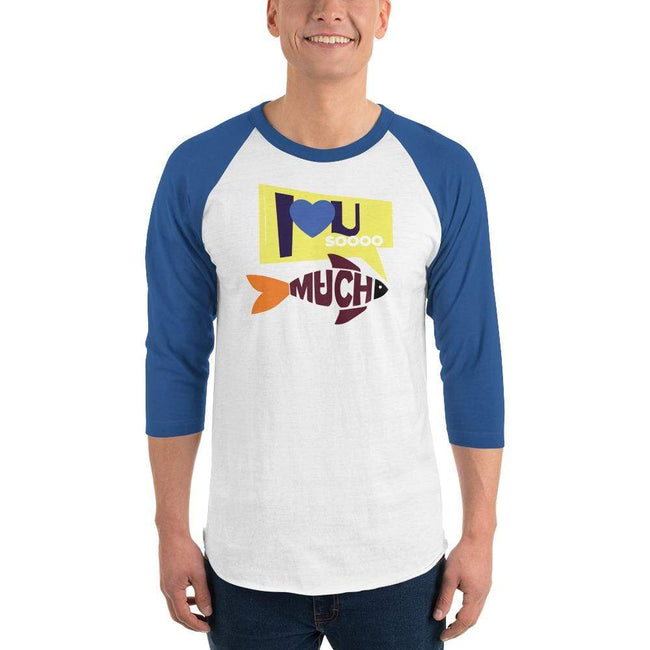White/Royal / XS Bengali Unisex Fine Jersey Raglan Tee   - I love you so much