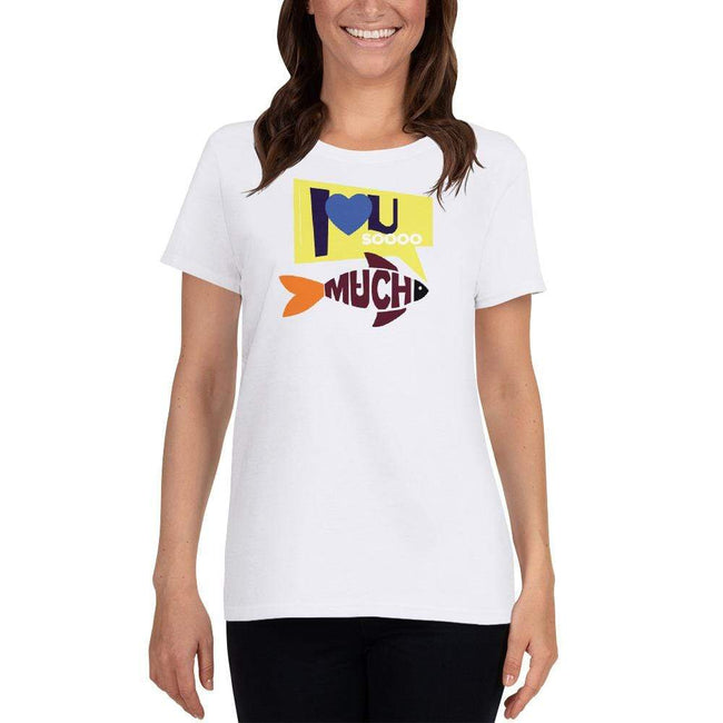 White / S Bengali Heavy Cotton Short Sleeve T-Shirt -I love you so much