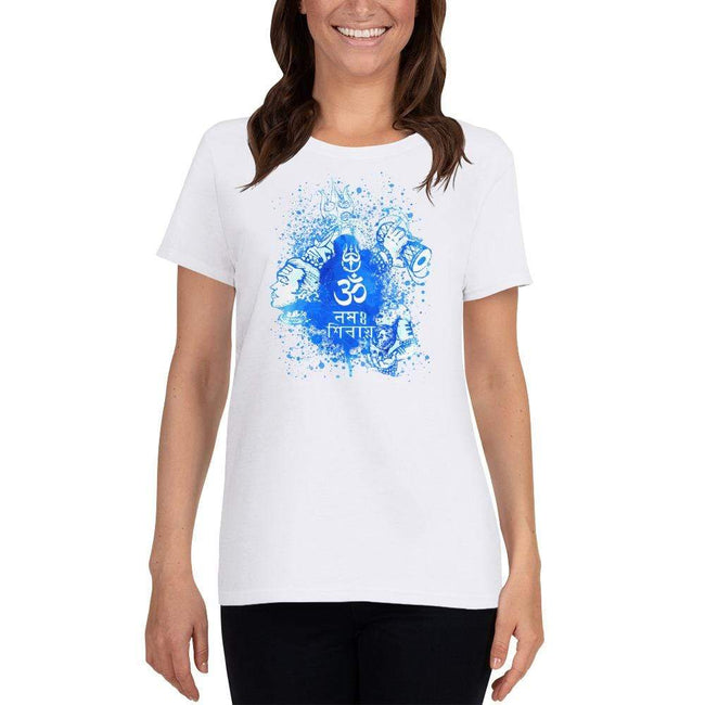 White / S Bengali Heavy Cotton Short Sleeve T-Shirt -Om Namah Shivay-03