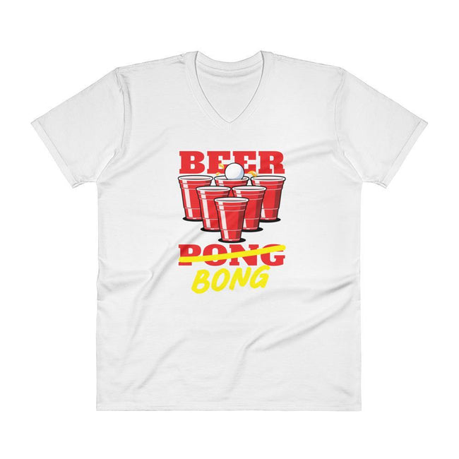 White / S Bengali Lightweight Fashion V-Neck T-Shirt - Beer Bong