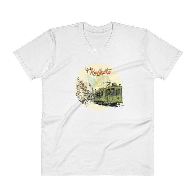 White / S Bengali Lightweight Fashion V-Neck T-Shirt - My Kolkata Tram